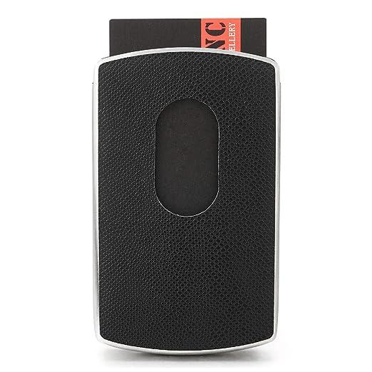 9d2a4946893 Black Leather Steel Business Card Case Name Cards Holder, Spring Loaded  Slide Out