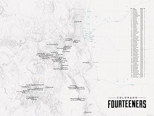 58 Colorado 14ers Map 18x24 Poster (Gray) on mountains map, golf map, travel map, mt evans map, state high points map, interactive topo map, home map, art map, hiking map, baseball map, food map, hunting map, national parks map, sawtooth wilderness topo map, waterfalls map, sports map, backcountry map, lakes map, camping map, mt antero map,