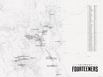Amazon 58 Colorado 14ers Map 18x24 Poster Gray Posters & Prints