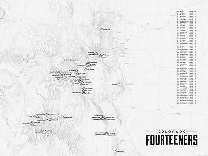 Amazon.com: 58 Colorado 14ers Map 18x24 Poster (Gray): Posters & Prints