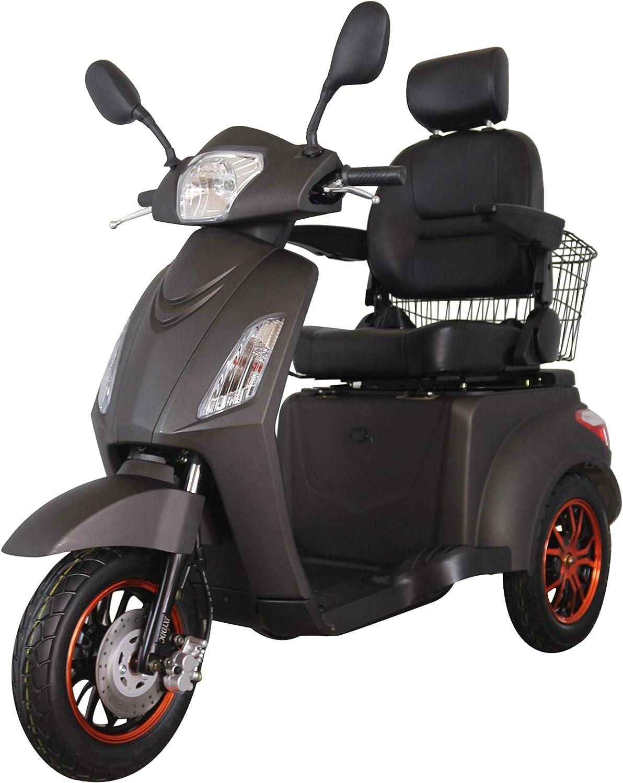 Green Power Scooter electrico de Movilidad Reducida Triciclo/Scooter Nuevo estabilidad 60V100Ah 800W Velocidad Hasta 25 km/h Negro Mate
