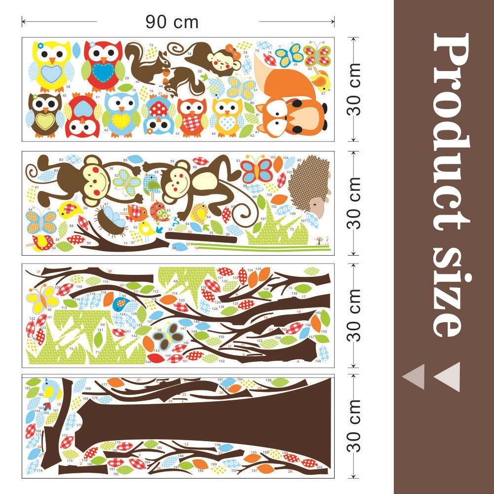 IDABAY Stickers Muraux Enfants Autocollant Mural Stickers Chambre B/éb/és Papier Peint Animation Color/és D/écoration de Mur Garderie Arbre Hiboux Singes 234X150CM