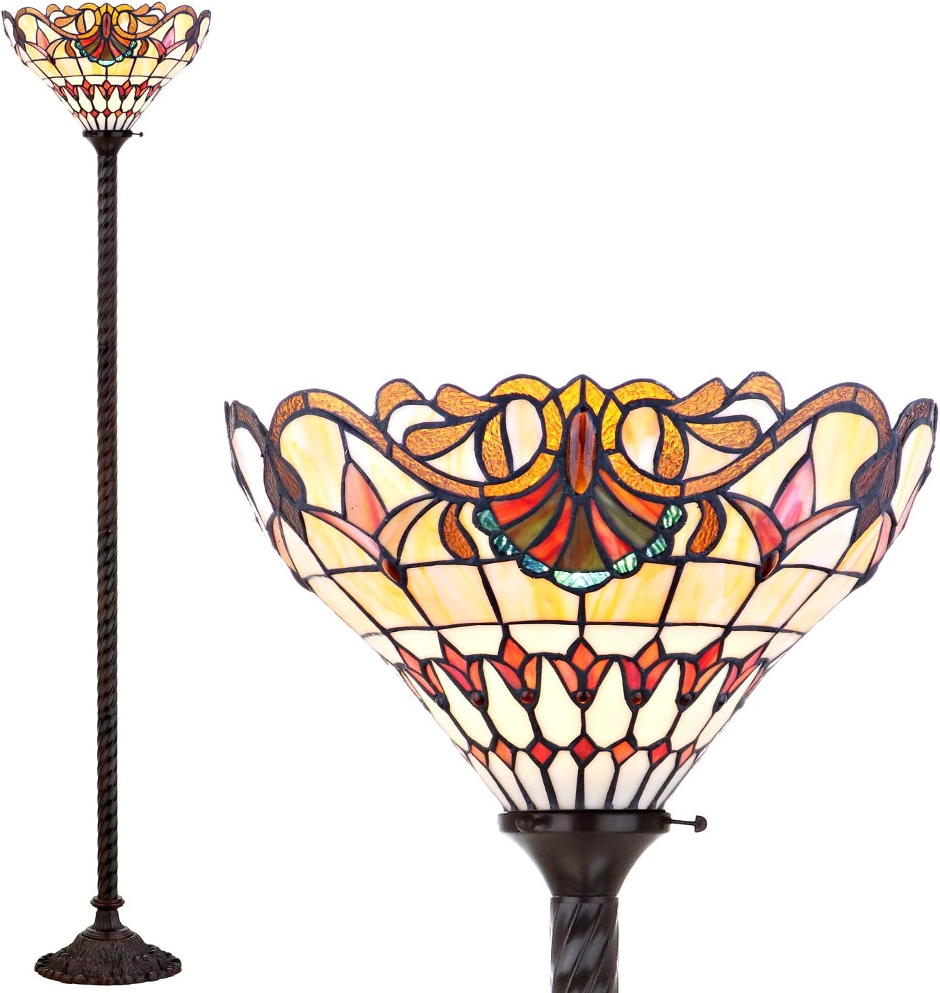 Tangkula Table Lamp, Tiffany-Style Victorian 2-Light 16 Tall Desk Beside Lamp Tetragonal Reading Light, Equipped with Colorful Stained Glass Lamp Shade Resin Base, Suitable for Bedroom