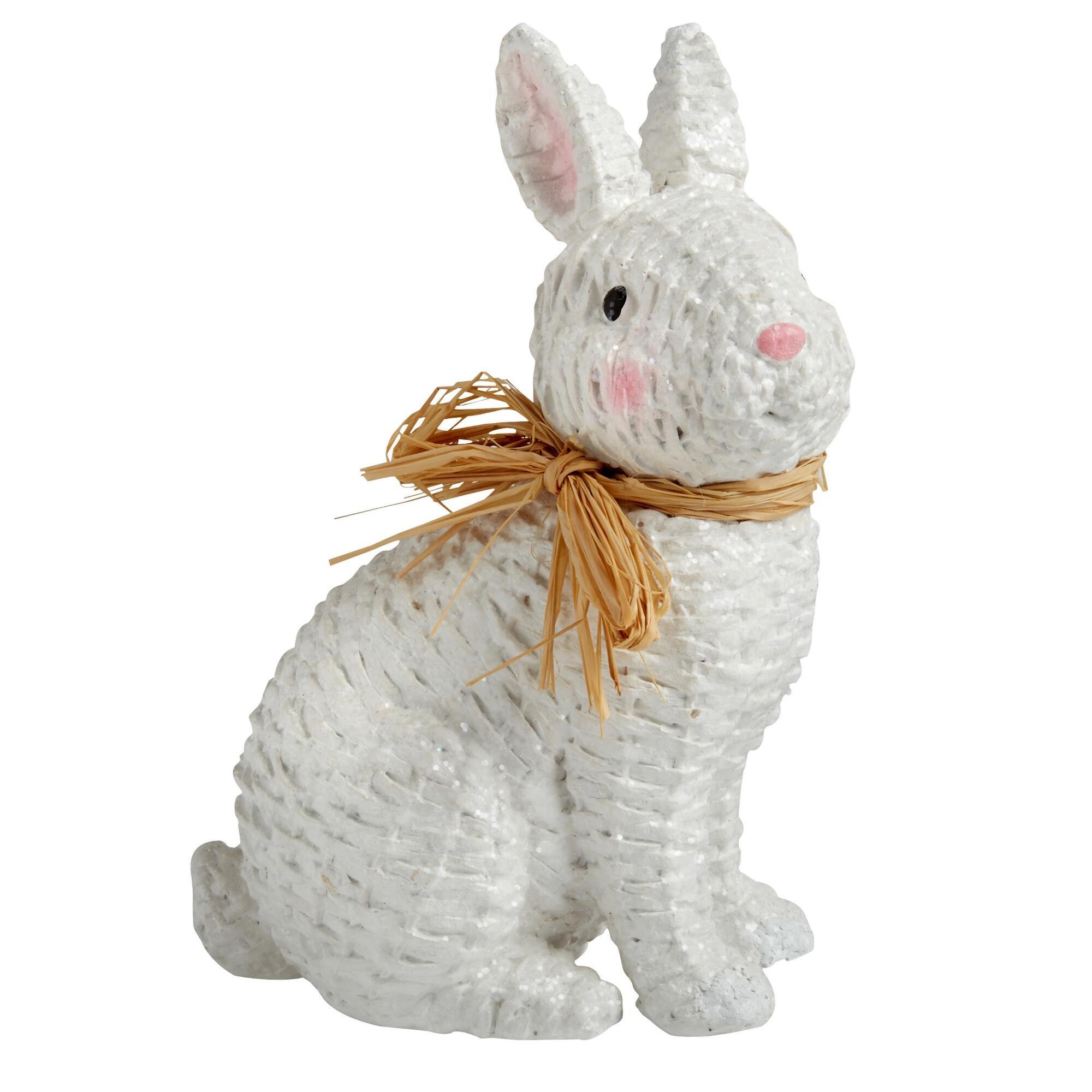 Nantucket Home White Basketweave Easter Bunny Figurine, 8-Inch