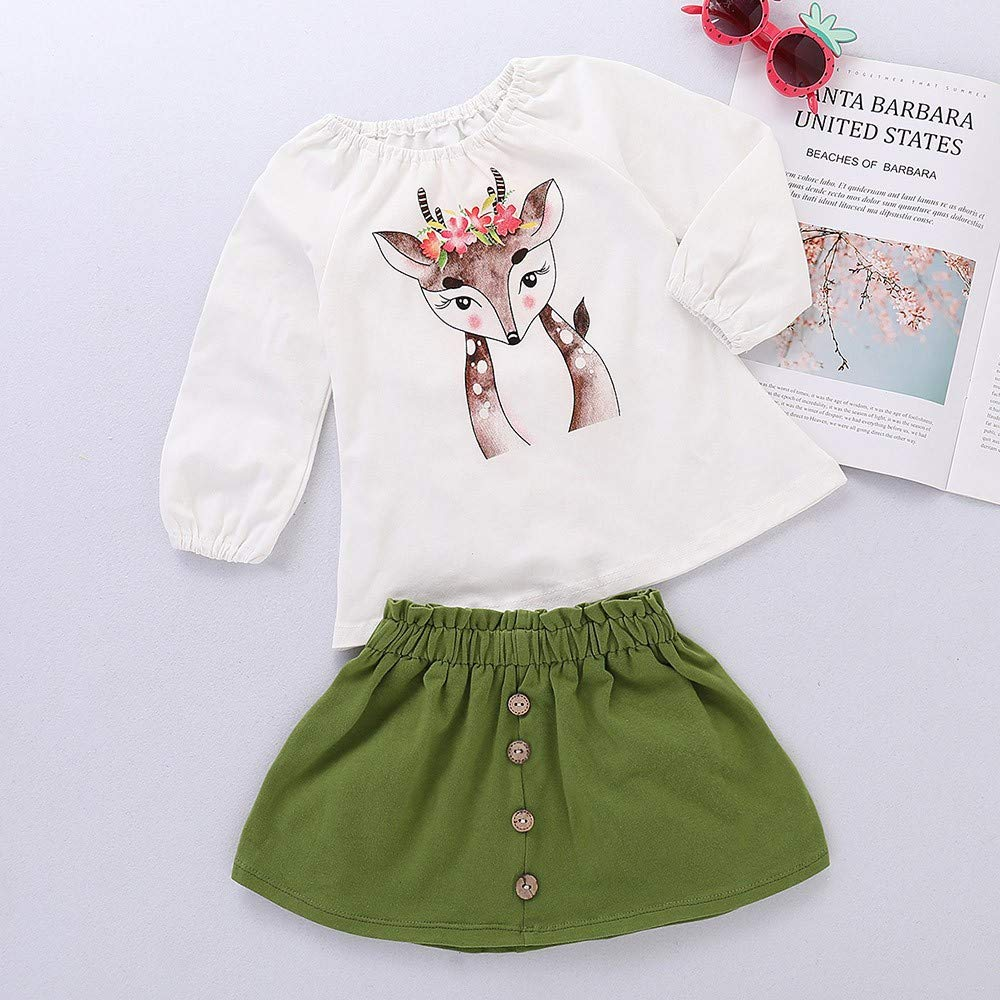 Amazon.com: Wenjuan Cartoon Sika Deer Print Top+Skirt Outfit for Infant Newborn Toddler Kids Baby Girls: Clothing