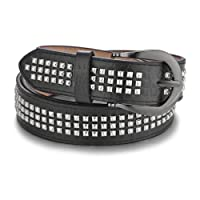 Unisex Black Punk Belt PU Leather Stylish Fashion Mens Jeans Pyramid Belt Punk Rock Rivet Studded Design by Wedding Decor
