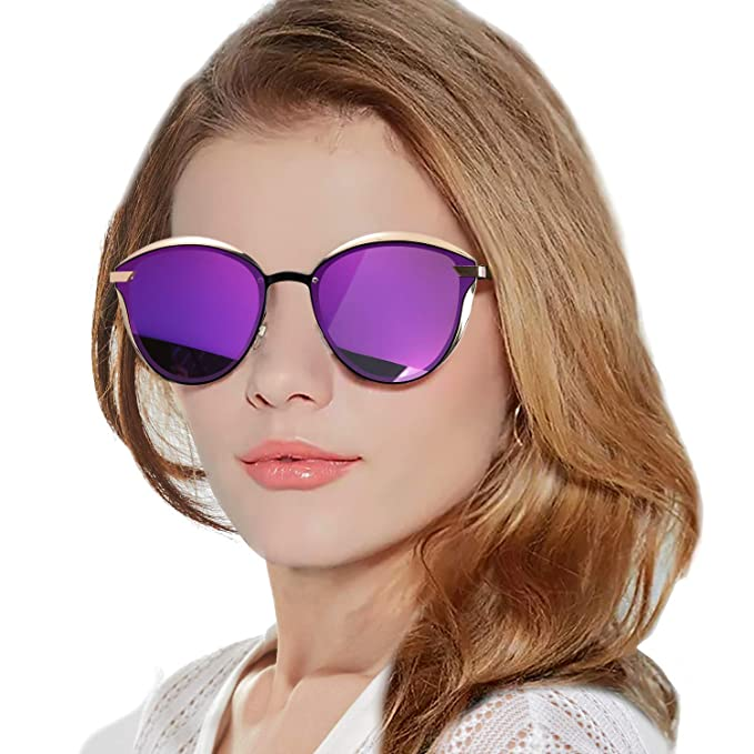 e196566dbe LVIOE Women s Vintage Cat Eye Sunglasses Metal Frame Colored Polarized Lens  UV400 Protection (Gold