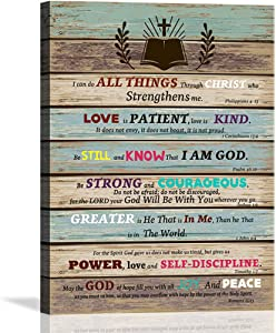 Inspirational Wall Art Scripture Bible Verse Wall Art Christian Canvas Art for Office Bathroom Bedroom Wall Decor Rustic Farmhouse Wall Decor Religious Gifts Be Still and Know that I am God