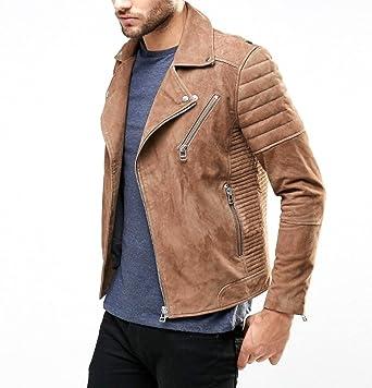 World Of Leather Genuine Lambskin Suede Leather Jacket Biker Light
