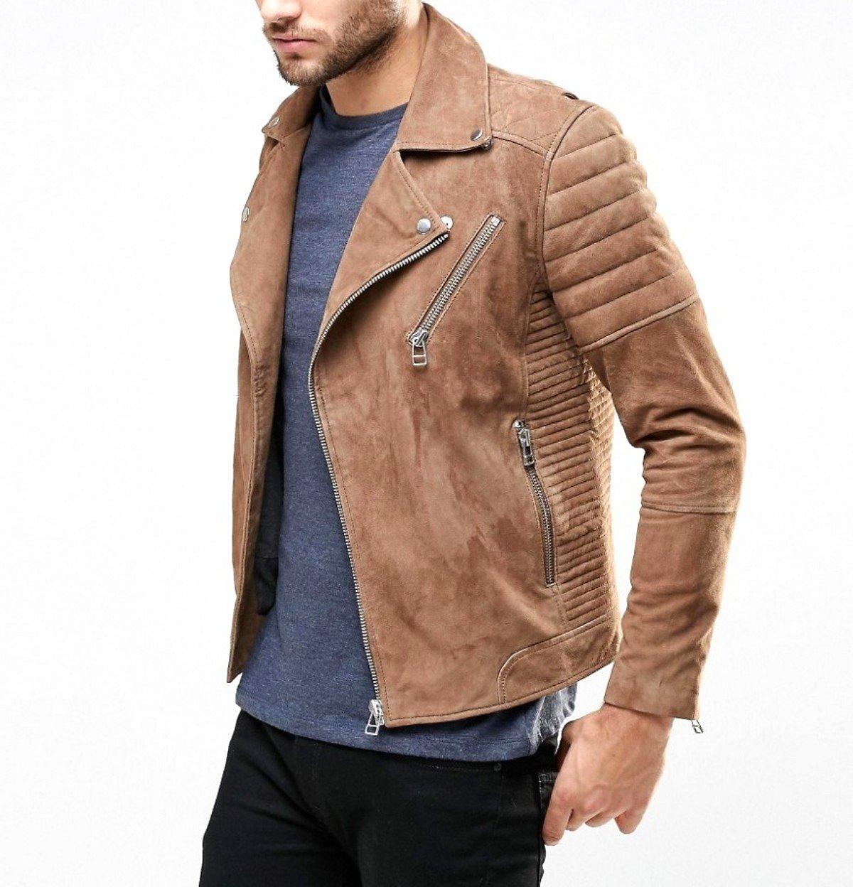 World Of Leather Genuine Lambskin Suede Leather Jacket Biker Light Brown Moto (XXL46)
