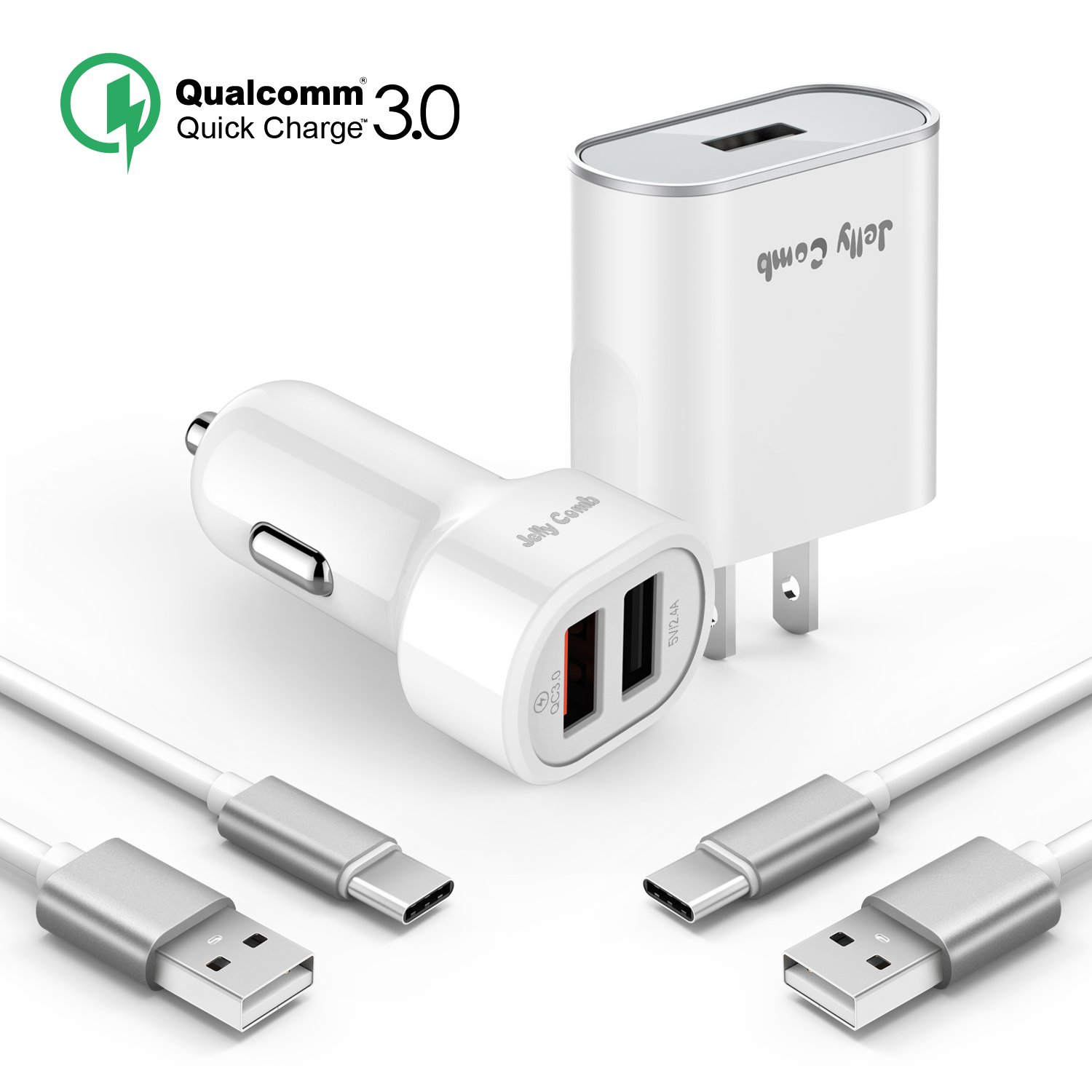Quick Charge 3.0 Charger Kit Compatible for Samsung Galaxy S9 / Note 8 / S8, Jelly Comb Dual USB Car Charger + Wall Charger + 2 Pack USB Type C Cables Compatible for Galaxy S8 Plus, S9 Plus (White)