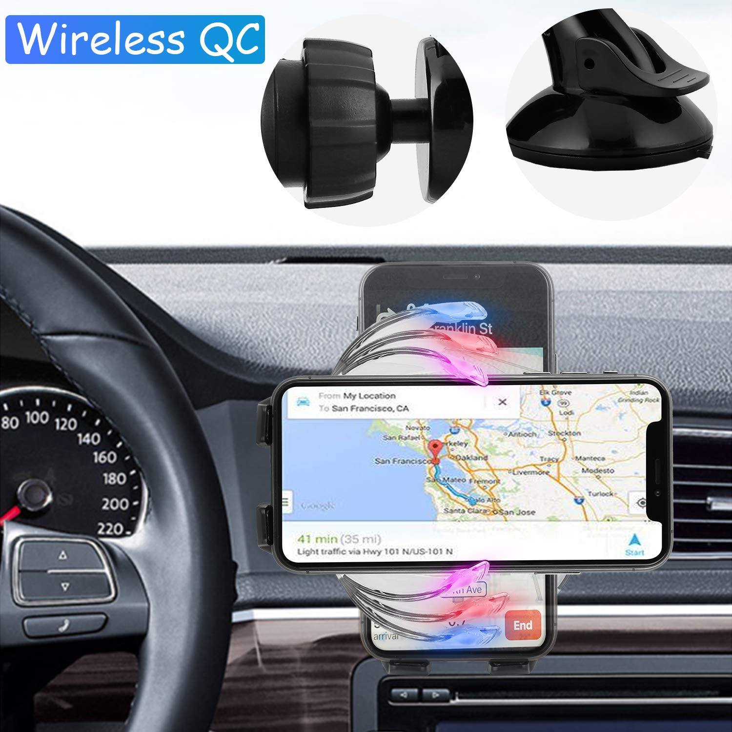 Wireless Car Charger Mount Auto Clamping 10W//7.5W Qi Fast Charging Car Phone Holder Air Vent Windshield Dashboard for iPhone Xs//Xs Max//XR//X// 8//8 Plus Samsung Galaxy S10//S9//S8//S8+ - Black