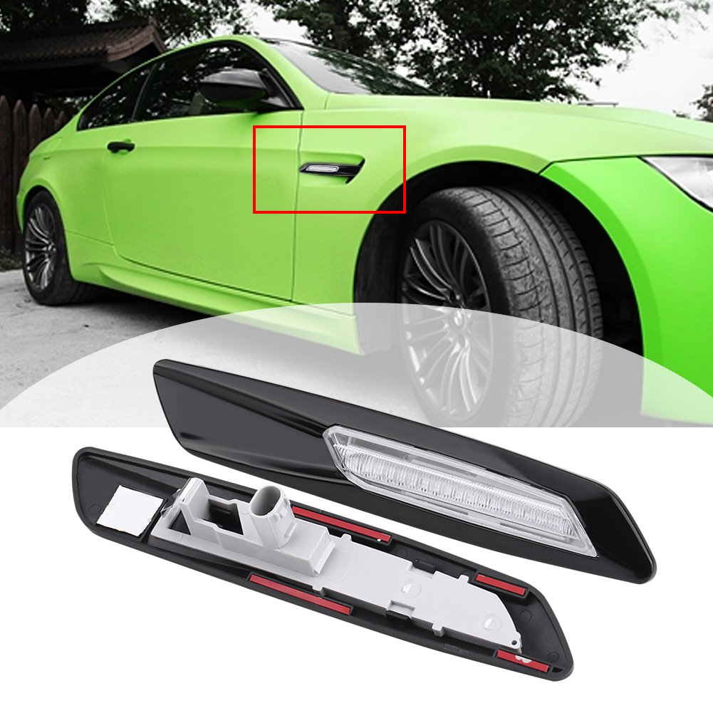 Cuque 1 Pair LED Side Marker Turn Signal Light Car Auto Side Marker Turn Signal Light Black for BMW E81 E87 E90 E91 E92 E93 E60 E61.