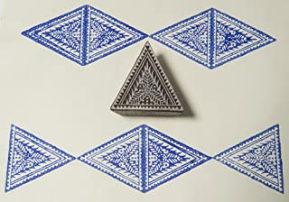 Blockwallah Flower in a Triangle Wooden Block Stamp