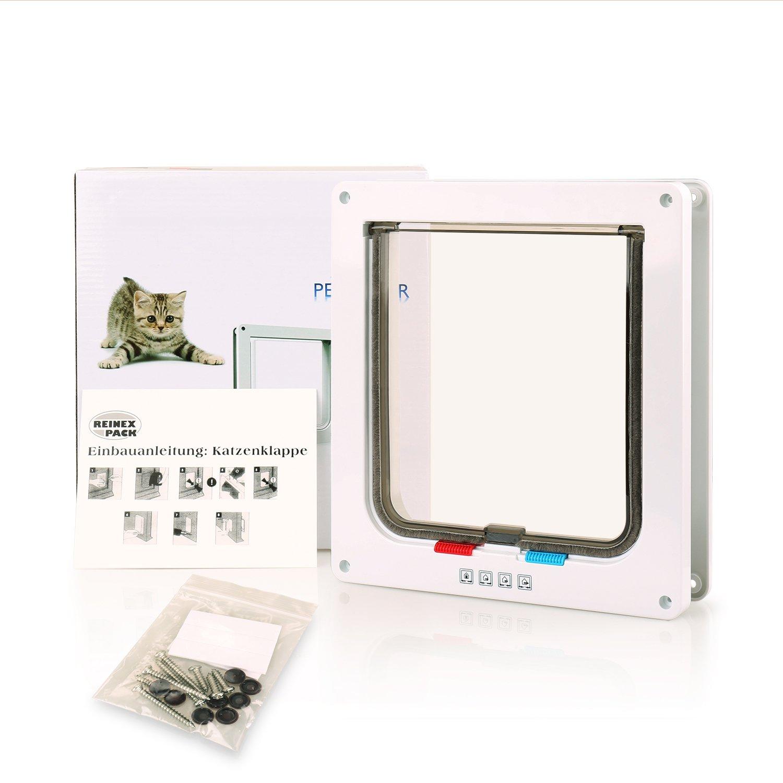 BIGWING Style Pet Flap Lockable 4 Way Locking Cat Door White L
