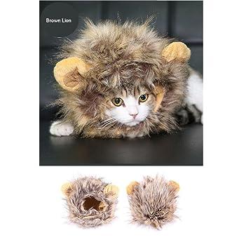 YIFANFENGSHUN Gato León Panda Mickey Bunny Mane Peluca Gato Traje Sombrero Gato Mascota Cachorro Peluca Cosplay Para Gato Ropa Para Perros Ropa De Navidad ...