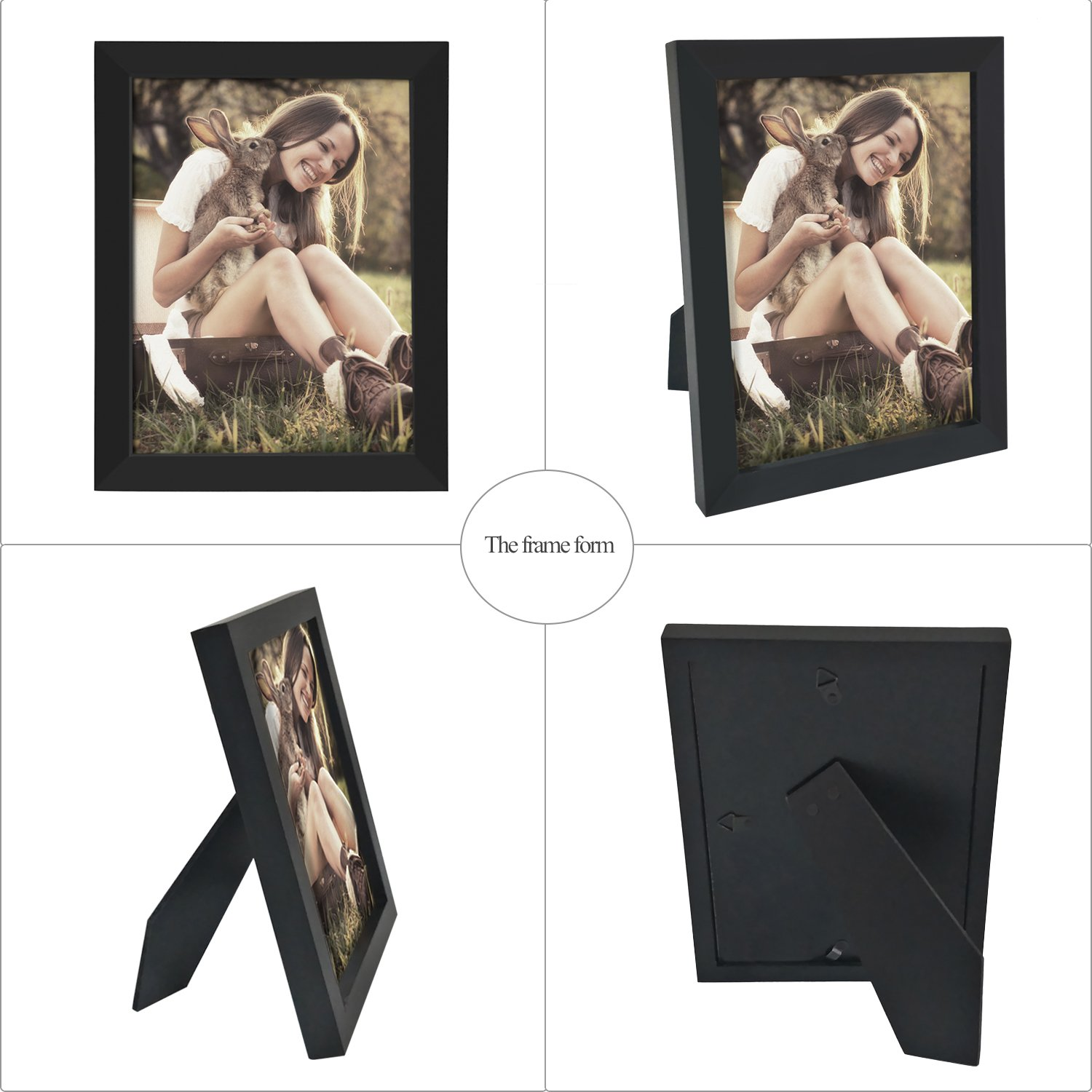 Adeco Decorative Black Wood Collage Picture Photo Frame for Wall Hanging or Table Top 6 x 8-Inch PF0053-2