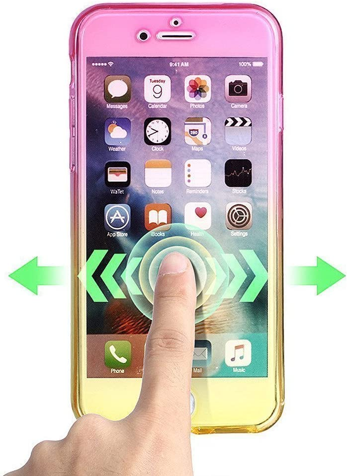 iPhone 5S Case,iPhone SE Case,LEECOCO 360 Degree All-round Full Body Protective Case Anti Scratch Bumper Rubber Gel Soft Transparent TPU Case Cover for iPhone 5 SE Yellow and Blue 5S