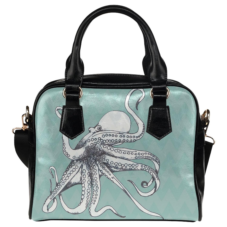 InterestPrint Ocean Animal Octopus PU Leather Aslant Shoulder Tote Handbag Bag