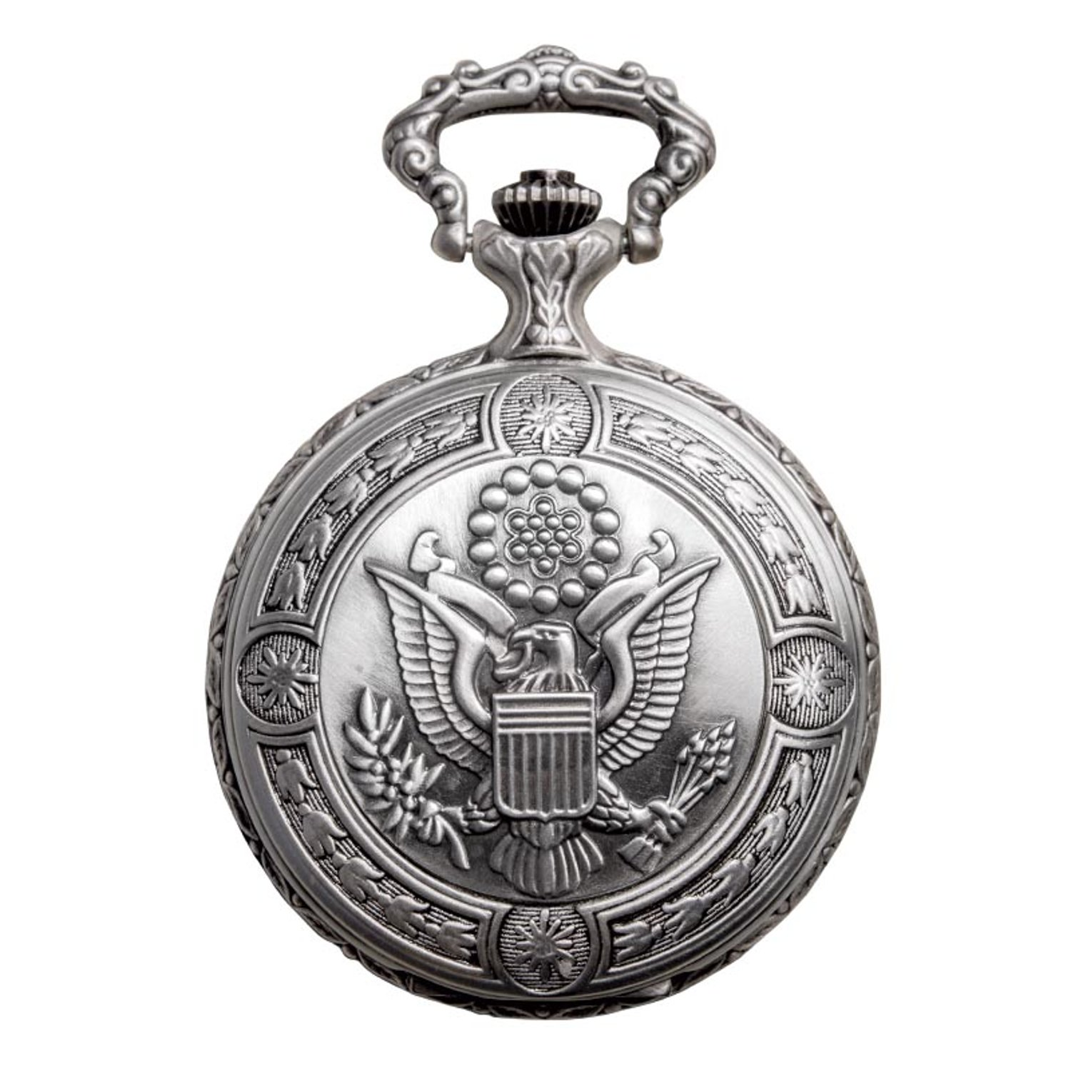 Daniel Steiger Flying Eagle Luxury Vintage Hunter Pocket Watch - Hand-Made Hunter Pocket Watch - Engraved Flying Eagle Design - White Dial With Black Roman Numerals by Daniel Steiger