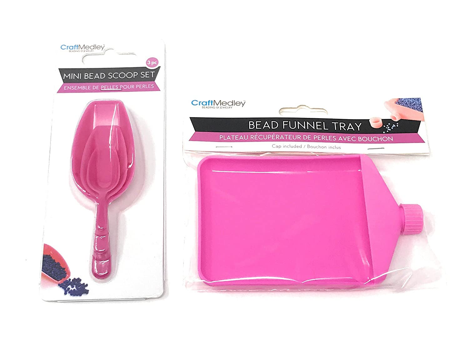 Bead Funnel Tray W/Cap and BT256 Beading & Jewelry Tool, Scoop-It Mini Bead Scoop Set, 3-Piece by Craft Medley