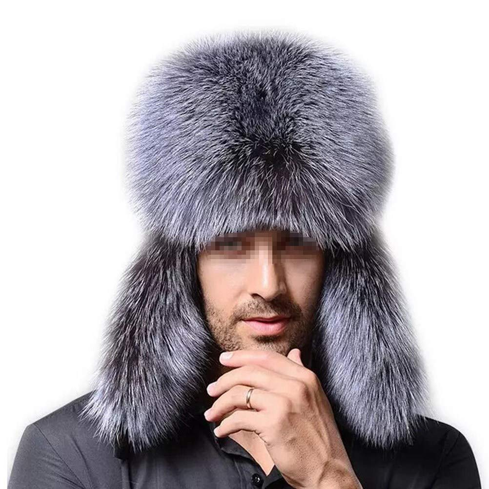 LUOEM Artificial Fur Hat Northeast Winter Warm Hat Middle-Aged Cap(Blue Fox) I15112KI1Z4CKFWI517K