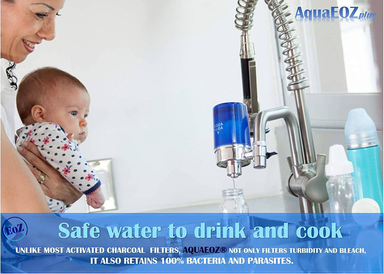AquaEOZ Faucet Mount Water Filter coconut charcoal filtration zeolite 0.1 micron hollow fiber microfiltration membrane