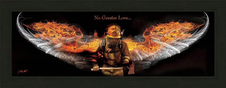 Home Cabin Décor No Greater Love - Fireman by Jason Bullard 16x40 Fire Flames Angel Wings Inspirational Americana Framed Art Print Picture