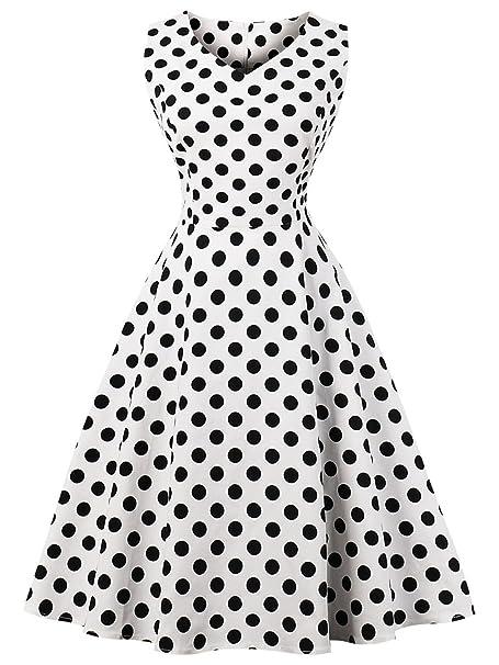 FAIRY COUPLE 1950S Vintage Rockabilly Lunares Vestido de Baile DRT072(S,Puntos Negros Blancos