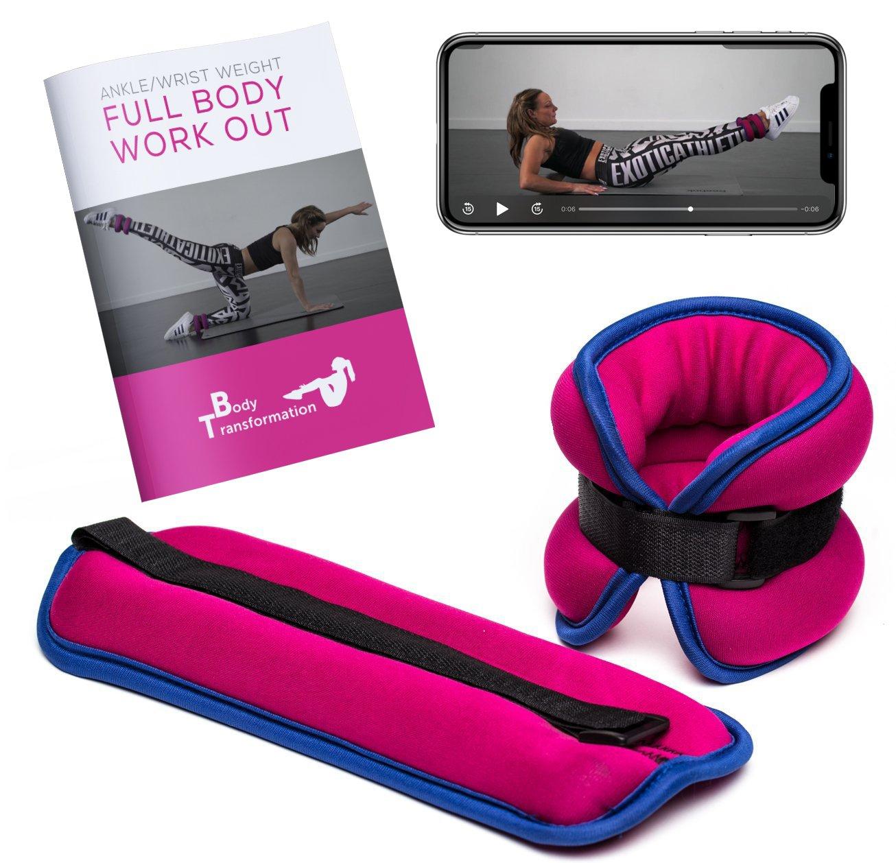 Pesas de tobillo o muñeca 1 kg cada una + Aplicación de fitness + e-book en español HEALTH INTERVENTIONS LIMITED