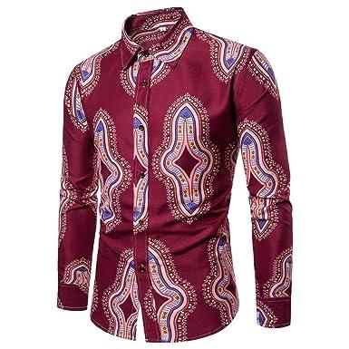 AiRobin Camisa de Manga Larga con Estampado Tribal de impresión básica para Hombre Silm, Rojo Vino, S: Amazon.es: Ropa y accesorios