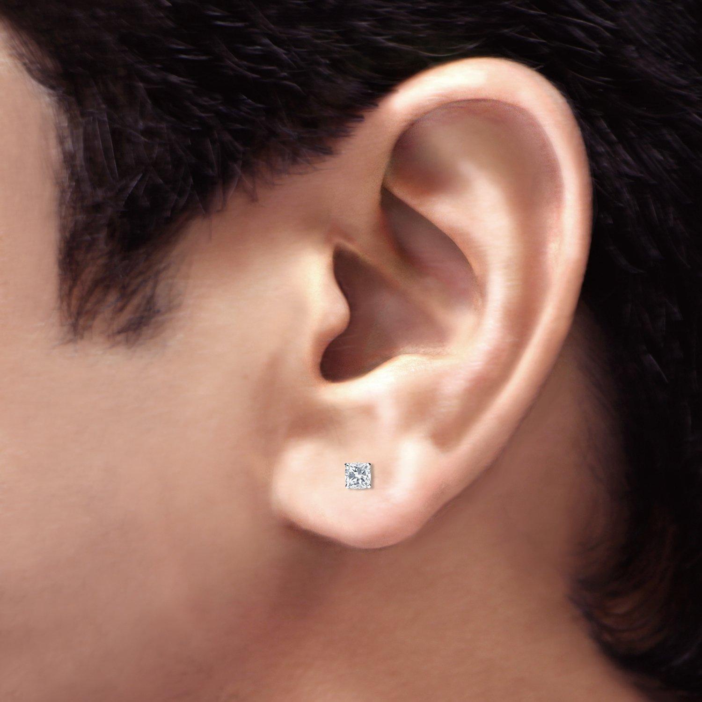 14k Gold Cushion Diamond Simulant CZ Men Stud Earrings 4-Prong 1//2-2cttw,Excellent Quality