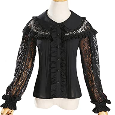 57986ed5e4b Smiling Angel Sweet Lace Hollow Doll Double Collar 3 4 Sleeve Lolita blouse