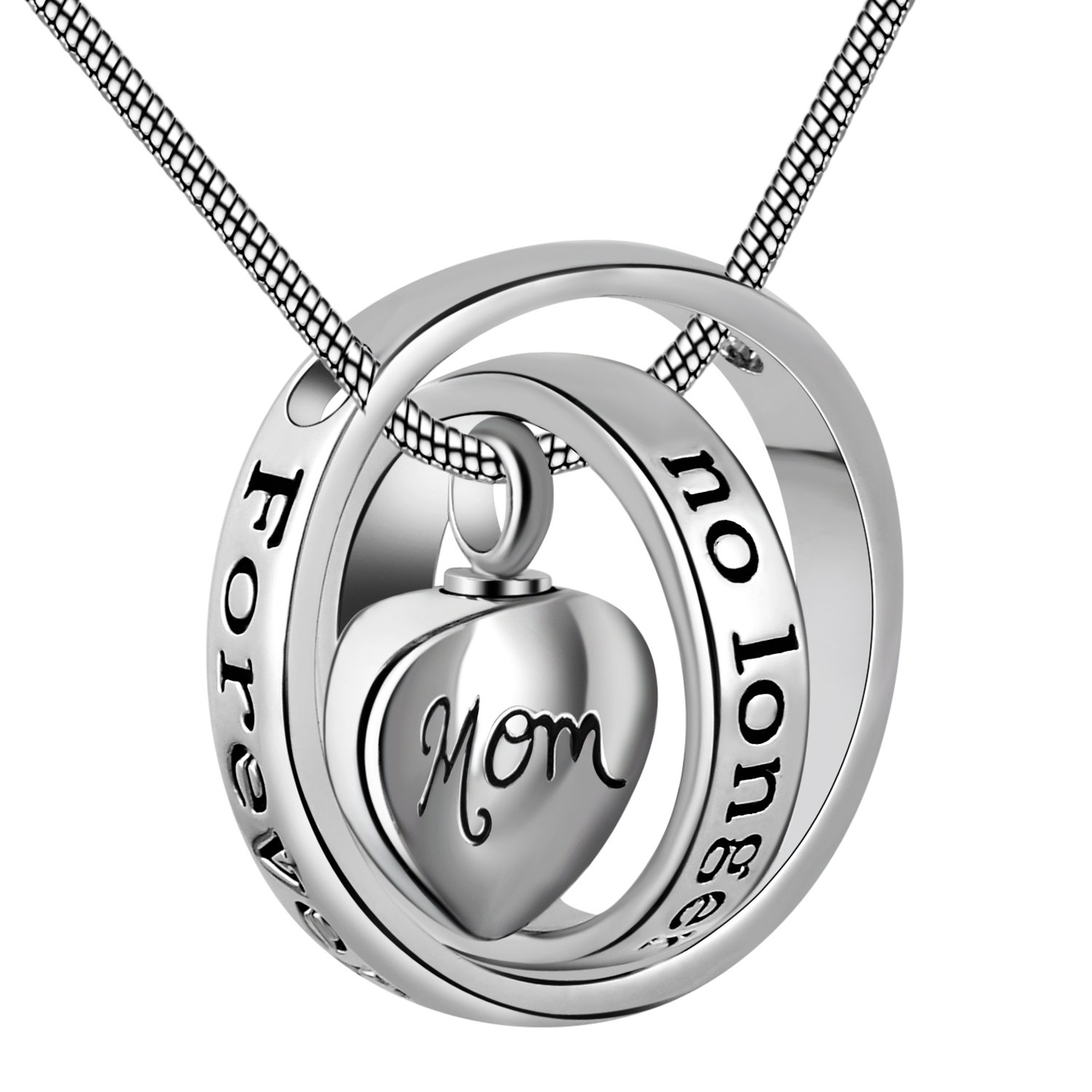 Eternally Loved No longer by my side,forever in my heart carved locket cremation Urn necklace for mom & dad (Mom)