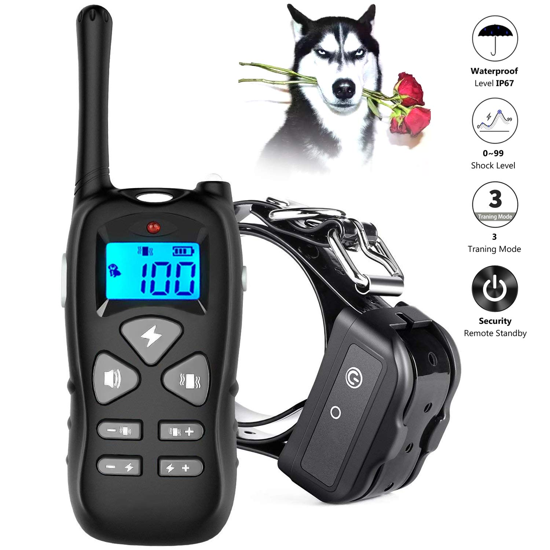 LINNSE Shock Collar Dogs Dog Shock Collar Remote Range 1000ft, 100% Waterproof Security Dog Training Collar Dogs Vibration, Shock, Beep Training Mode