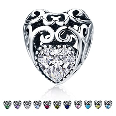Amazon Com Forever Queen Birthstone Charms Leaves Wave Heart Bead