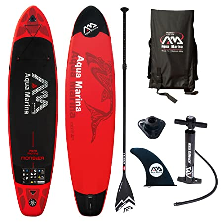 Aqua Marina MONSTER Inflatable Stand-up Paddle Board for Yoga, Recreation and Fitness Red with 2 Person Capacity by