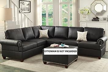 Amazon Com 2pcs Modern Black Bonded Leather Reversible Sectional