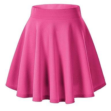 Amlaiworld Falda Corta para Mujer Falda Mini elástica de Color ...