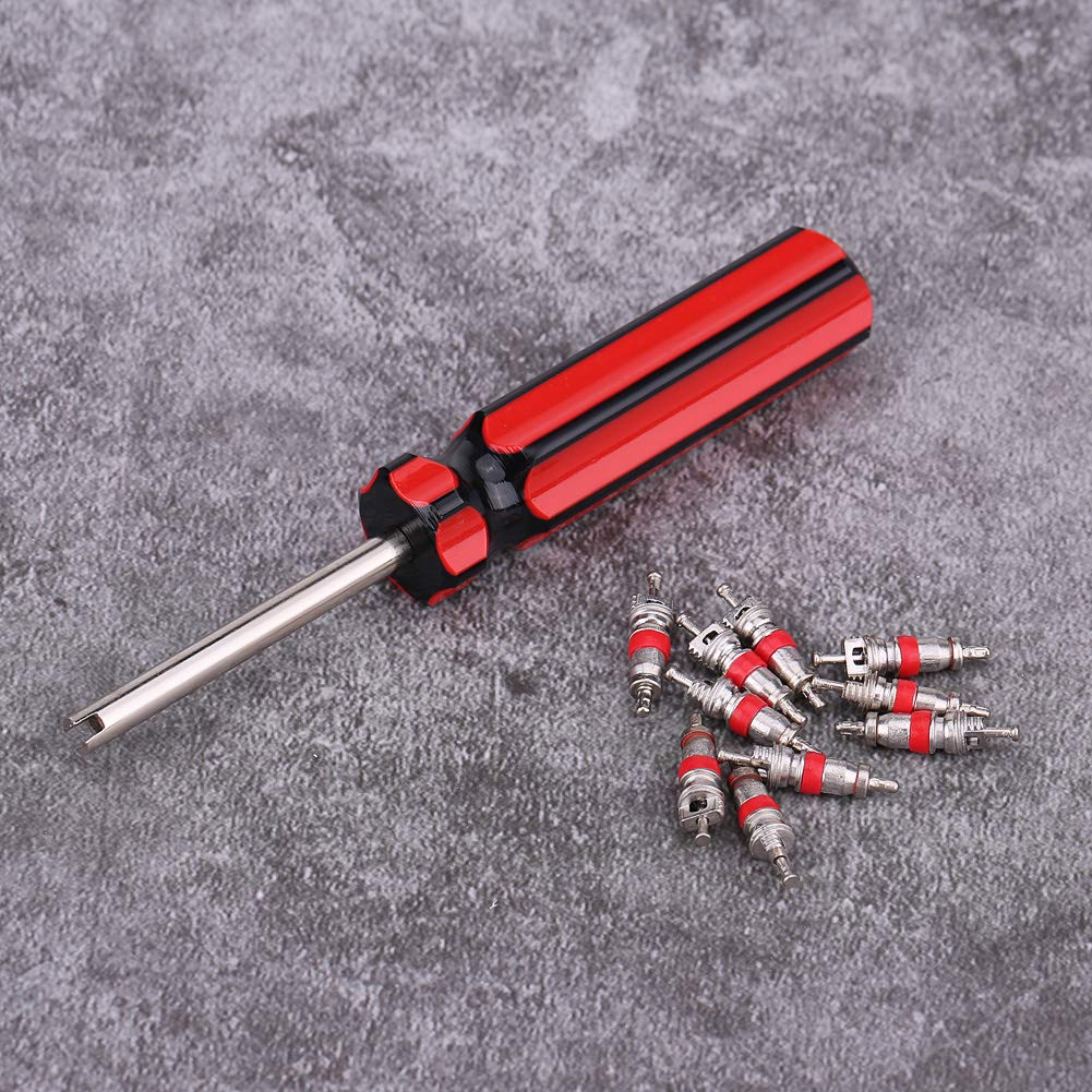 10 Pcs Tire Repair Tool Tire Valve Core Kit Head Valve Core Remover for Car Truck Motorcycle