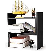 NIUBEE Adjustable Bamboo Desktop Bookshelf Countertop Bookcase,Book Storage Organizer Display Shelf Rack