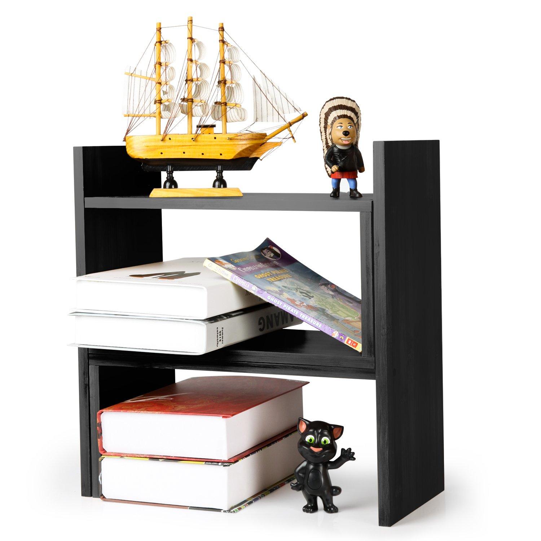 NIUBEE Adjustable Bamboo Desktop Bookshelf Countertop Bookcase,Book Storage Organizer Display Shelf Rack(Black)