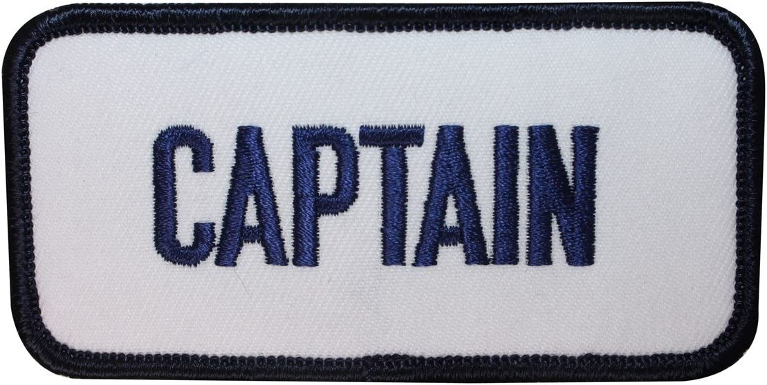 ID 1977 Captain Name Tag Patch Nautical Badge Embroidered Iron On Applique