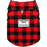 Beirui Windproof British Plaid Dog Vest Winter Coat - Dog Apparel Cold Weather Dogs Jacket for Puppy Small Medium Large dogs -Black and Red