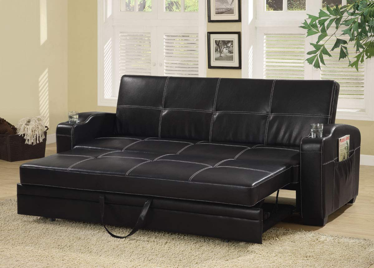 Amazon.com: Coaster Home Furnishings 300132 Sofa Bed, Black ...