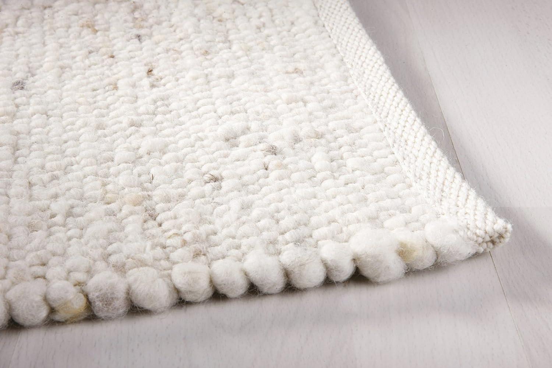 Moderner Landhaus Teppich Handwebteppich Fjord aus hochwertiger Schurwolle für Wohnzimmer Schlafzimmer und die Küche geeignet und beidseitig legbar echte Handarbeit Farbe 1 natur meliert 130x200 cm