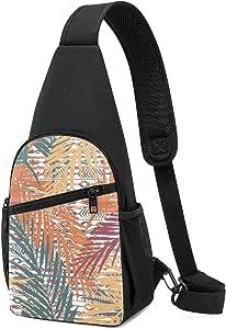 Bandolera de hombro ligera con patrón exótico sin costuras, con hojas de palma sobre fondo étnico, mochila de hombro, mochila cruzada, bolsas de viaje, senderismo, para hombres y mujeres