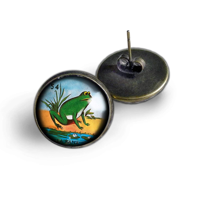 Amazon.com: Loteria La Rana Loteria Frog Stud Earrings: Handmade