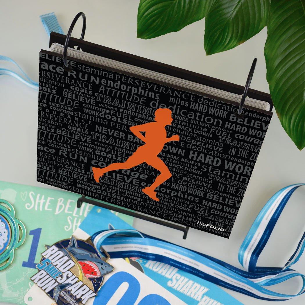 Gone For a Run BibFOLIO Race Bib Album | Bib Holder Running Inspiration Male | Black/Orange by Gone For a Run (Image #3)