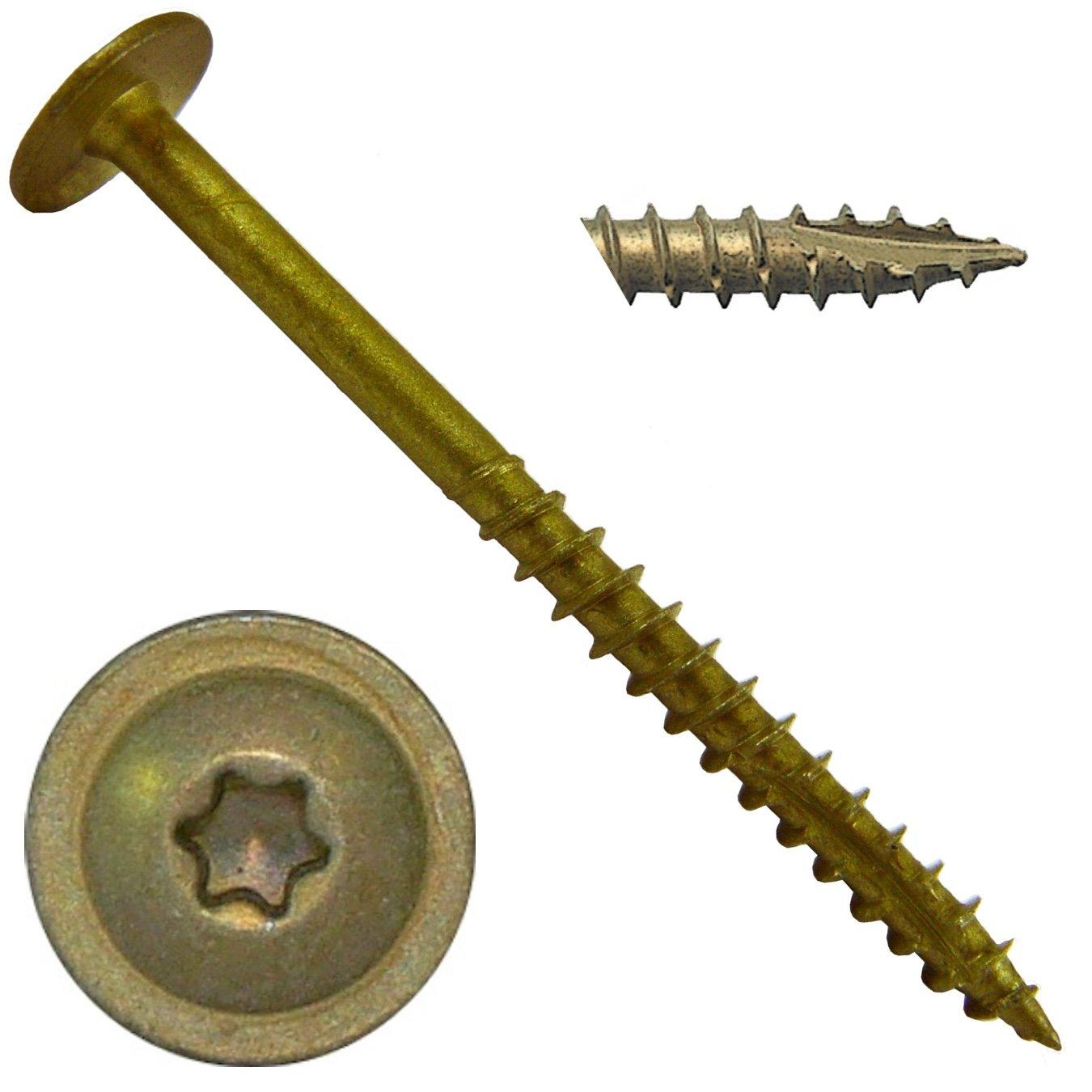 #7 x 1-5/8'' Bronze Star Exterior Coated Modified Truss Head Cabinet Wood Screw Torx/Star Drive Head (5 Pound) - Multipurpose Exterior Coated Torx/Star Drive Wood Screws
